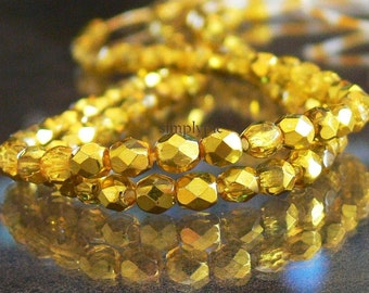 Citron Ice Mirror, Czech Beads Fire Polished 4mm 50 Faceted Round GLass