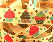 SUPER SALE----7/8 inch wide Grosgrain Ribbon----5 Yards----Glitter Cupcake Dot Party----USA Designer
