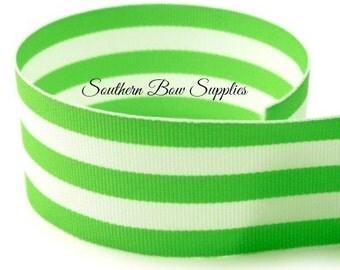 1.5 inch Grosgrain Ribbon-------3 Yards-----Stripes-----Lime White------Hair bow Making Supplies