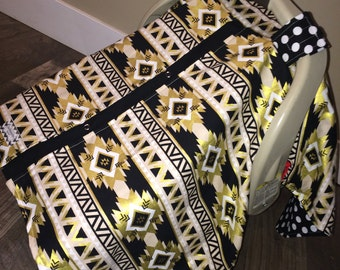 Carseat Canopy Carseat Cover Black and Gold STUNNING /  carseat canopy / carseat cover / car seat cover / nursing cover
