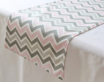 Pink And Grey Chevron Table Runner, Choose Length, Baby Shower Table Decor,  Gender