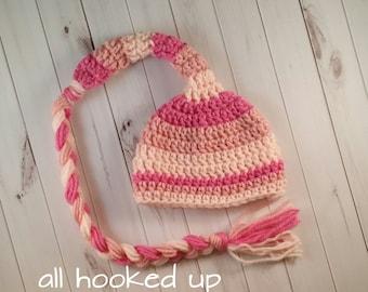 Elf Hat Baby Girl Newborn Crochet Photo Prop long stocking cap