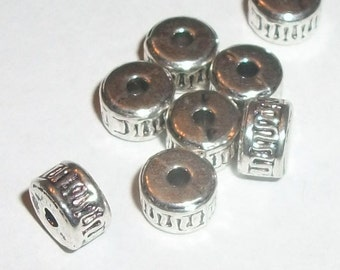 Antique silver plated pewter 7x4mm rondelle spacer beads -- 50 pieces  (MB9084AS)