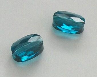 Swarovski crystal beads 10x8mm or 8x6mm  mini ovals style 5051 -- INDICOLITE blue -- 2 pcs per lot