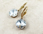 Cushion Cut Earrings, Rhinestone Dangle Earrings, Rhinestone Earrings, Crystal Earrings, Wedding Jewelry, Gift for Her
