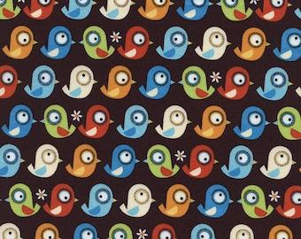 1 yard - Birds Organic in Brown, Organic cotton, Timeless treasures Fabrics
