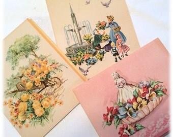 Lot of 3 Vintage Doehla Fine Arts Cards Flowers Wheelbarrow Figurine Lace Pansies Fountain Birds Children