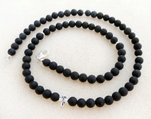 Men's Matte Black Onyx Stone Necklace, Sterling Silver Cross, Mens Gemstone Necklace, Mens Beaded Necklace, Christian, Handmade Mans Jewelry