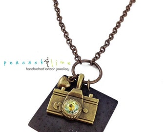 Oh Snap camera photographer necklace // swarovski crystal flower and hand stamped brass tag necklace // handmade // ready to ship
