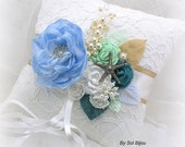 Ring Bearer Pillow, Elegant Wedding, White, Champagne, Mint Green, Blue, Teal, Turquoise, Pearls, Starfish, Lace, Crystals, Beach