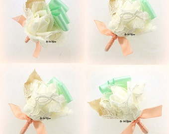 Boutonnieres, Peach, Mint Green, Ivory, Corsage, Groomsmen, Groom, Mother of the Bride, Lace, Satin, Simple, Elegant, Vintage