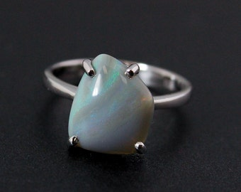 50% OFF SALE - Blue Opal Ring - October Birthstone - Sterling Silver