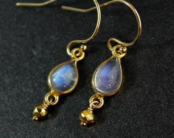 Teardrop Rainbow Moonstone Earrings - 14k Gold Fill - June Birthstone