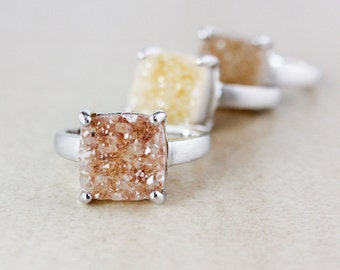 Square Natural Agate Druzy Ring Set - Choose Your Druzy - Earthy Tones