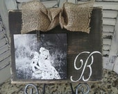 Rustic Chocolate Wood Board Distressed Frame with Burlap Bow and Custom Initial of Your Choice Great for Wedding Baby Family