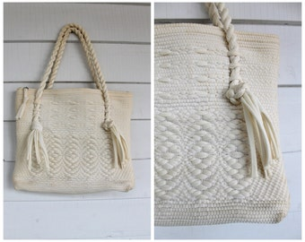 Woven Ivory Purse - Boho Fabric Handbag- Vintage 1960s 60s