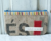 Upcycled MiNI MaGGIE zip pouch. Coin purse. Cell phone pouch. Makeup pouch.
