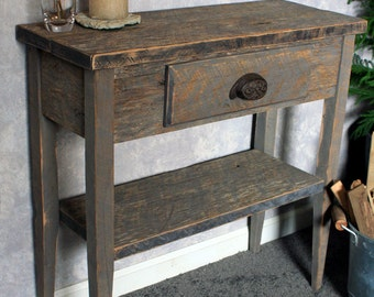 Small Entry Table. Gray Wood Sofa Table. Gray Reclaimed Wood Console Table. Small Hallway Table. 30 w x 12 d x 30t. Natural Finish.