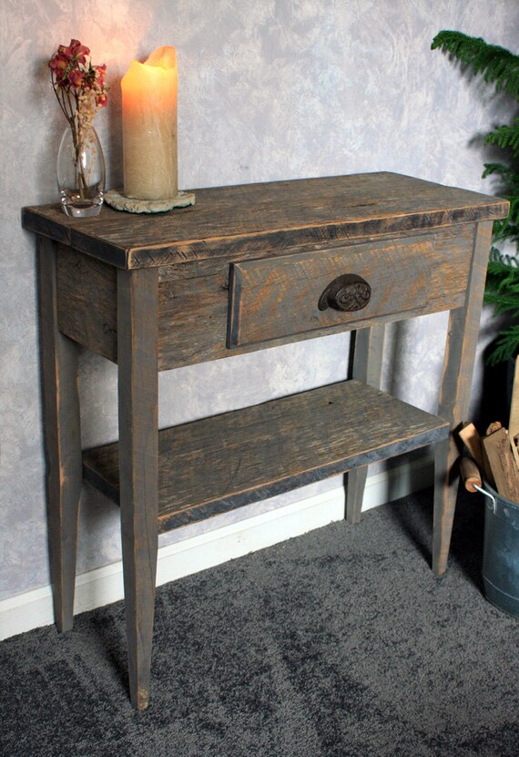 Small Entry Table. Gray Wood Sofa Table. Gray Reclaimed Wood