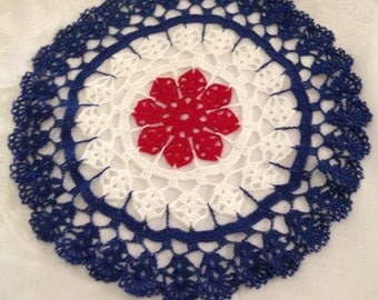 Patriotic Americana Hand crocheted  Doily 13 inches diameter in red white and blue American flag