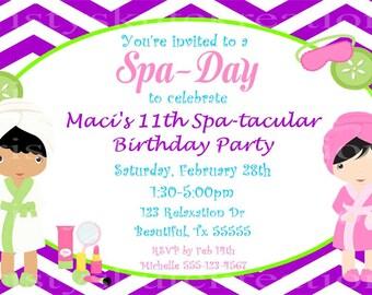 Chevron Spa Day party invitation-DIGITAL