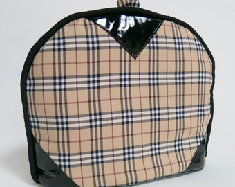 Tea Cozy / Cosy - Preppy Tartan /Plaid with Faux Patent Leather Embellishment