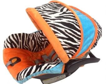 Zebra Boy Infant Car Seat Cover, Custom Boy Car Seat Cover, Zebra Infant Seat Cover, Boy Car Seat Covers by Ritzy Baby