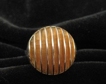 Modernist Ridged and Domed Cocktail Ring, 1970's Size 6 or 7