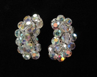 Clear Aurora Borealis AB Crystal Cluster Crescent Earrings