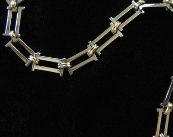 Stainless Steel Bracelet with Gold Accents, Gem Studded Clasp