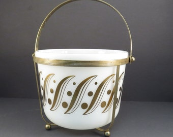 White and Gold Mid Century Ice Bucket Vintage 1950s White Pyrex Atomic Mad Men Cocktail Party Bar Ware