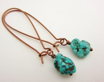 Turquoise Nugget earrings, Over sized Kidney Wires, Antiques Copper, Gemstone Earrings, Healing