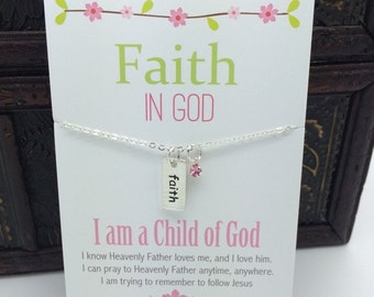 Faith in God Necklace  Tiny Silver Bar hand stampled Faith Charm with pink crystal accent  Primary LDS Faith in God for girls necklace gift