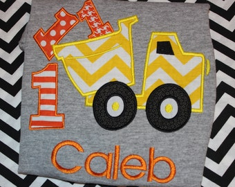 First birthday Dump truck birthday tshirt- any number