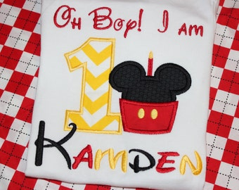 Oh boy I am 1- first birthday Mickey Mouse cupcake shirt- any number