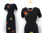 Vintage Black Linen Dress with Embroidered Red Roses Size M