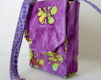 Mini Mini Hipster Smart Phone Case Adjustable Strap Quilted Fabric Batik Purple Lavender