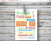 ON SALE 40% off Thank You multi language - 4x5.5 folded greeting card - Thank You Card