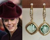 SALE! Kate Middleton Green Mint Crystal Gold Earrings-e396