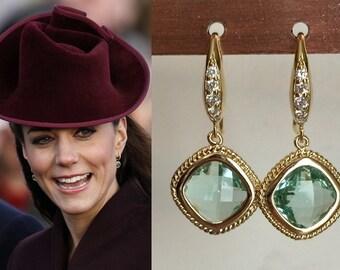 Kate Middleton Peridot Green Amethyst Crystal Gold Earrings-e396