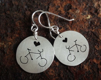 Eco friendly sterling silver  bicycle earrings