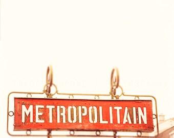 Streets of Paris / Photograph / Metro Paris Wall Decor / art print / crimson, yellow, creme / subway decor / travel / rustic Parisian decor