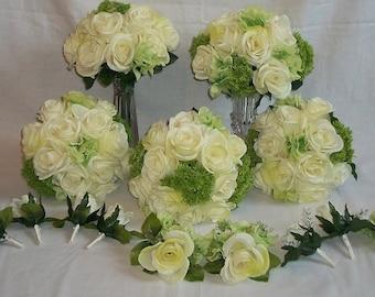 Green, Hydrangeas, Ivory, Roses,Silk, Wedding, Bridal, Bouquet, Set 15 Pcs