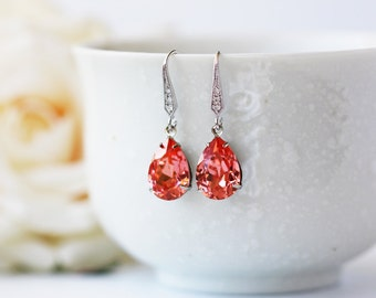 Peach Pink Crystal Earrings Swarovski Crystal Rose Peach Silver Dangle Earrings