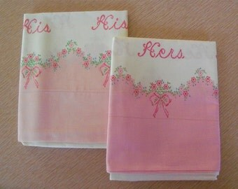 vintage 50s his and hers printed pillow case set