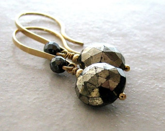 Gold Earrings, Gold Pyrite Earrings, Gold and Black, Natural Stone, Sparkly Dangle - Metallic Moons