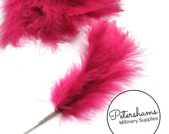 6 Stems of Wired Fluffy Marabou Feathers for Fascinators & Wedding Bouquets (18 feathers) - Fuschia Pink