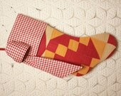 Stunning Red, Cheddar and Tan Antique Quilt Christmas Stocking with Antique Homespun Cuff and Bow