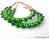 ETRUSCAN Filigree Lace - Earrings - grass green - on copper earwire