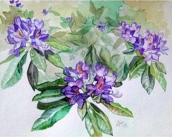 Original Floral Watercolor Painting - 14x11 Purple Azaleas Flowers